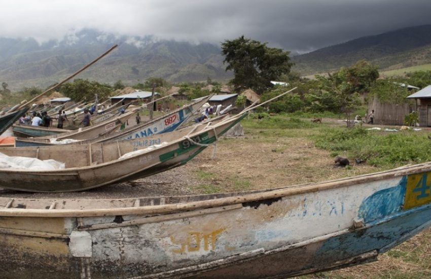 Fishing boats near Lake Edward in DRC