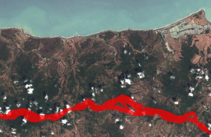 Satellite image of wildlife corridor along shoreline